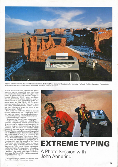 Extreme Typing, John Annerino, Totem Pole, Monument Valley, aerial stunt coordinator, helicopters, Utah-Arizona