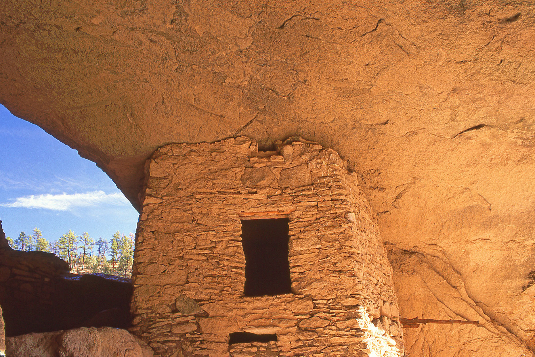 Food storage granary, John Annerino, Gila Cliff Dwellings National Monument, NM, Ancestral Mogollon