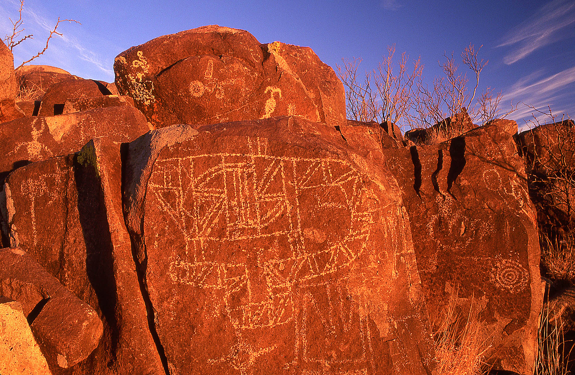 Petroglyph panel, John Annerino, Mescalero Apache, Billy the Kid, Three Rivers Petroglyph Site NM, Sierra Blanca, Bureau of Land Management, Rio Grande, prehistoric Jornada Mogollon petroglyphs